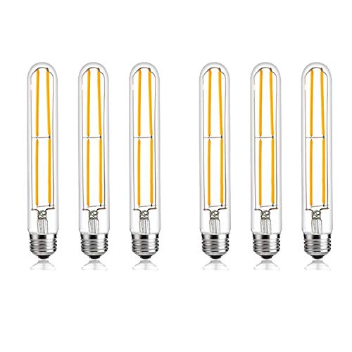 - T10 Dimmable LED Filament Bulb, 4w 470 Lumen Warm White 3000K, E26 Base, 60W Incandescent Replacement 6PACK