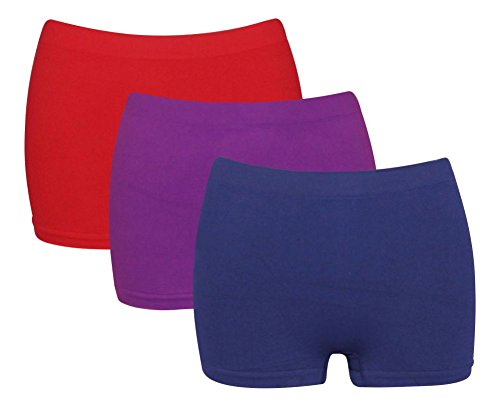 Ladies Microfibre Breathable High Waisted Ltd Range from G3 Boxer Shorts Boyshorts Red Purple Navy (10-20)