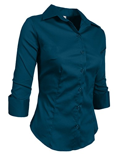 Downtown Button (NE PEOPLE Roll Up 3/4 Sleeve Button Down Shirt with Stretch)