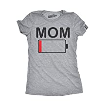 Womens Mom Battery Low Funny Empty Tired Parenting Mother T shirt (Grey) -L
