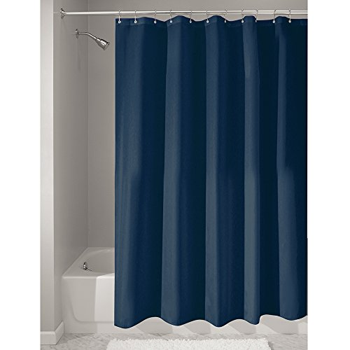 InterDesign Mildew-Free Water-Repellent Fabric Shower Curtain, 72-Inch by 72-Inch, Navy (Navy Blue Fabric Shower Curtain)