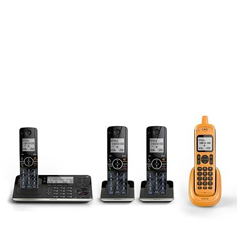 Motorola 4-Pack Connect-to-Cell Cordless Phones with Rugged Handset and Answering System