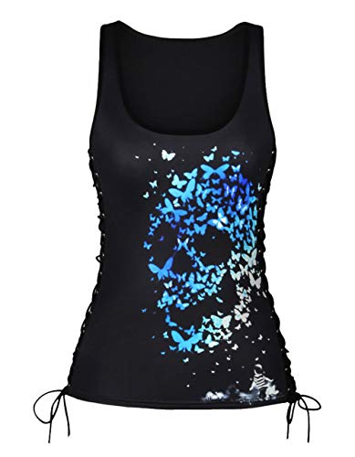 Aivtalk Women's Summer Sleeveless Tank Tops Casual U-Neck Camis Shirt Butterfly Skull Printed Side Lace Up -