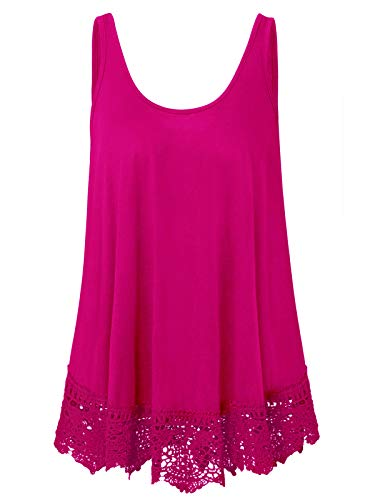 (Plus Size Swing Lace Flowy Tank Top for Women (Hot Pink, 1X))
