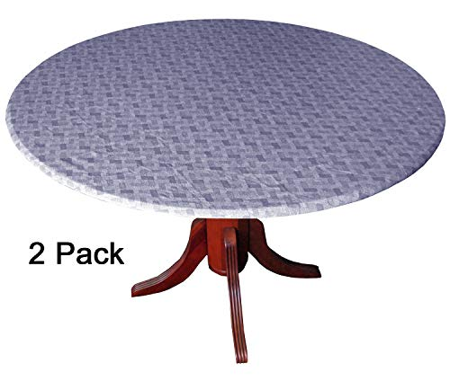 - WeavePrint 2 Pack - Basketweave Blue Fitted Tablecloths, Tablecovers, Table Covers in Neutral Shades That Blend with Any Decor
