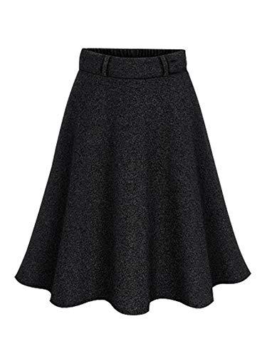 Skirt Elastic Waist Woven (Womens High Waist A-Line Pleated Knee Length Skirt Blue Black Tag 6XL-US 4XL)