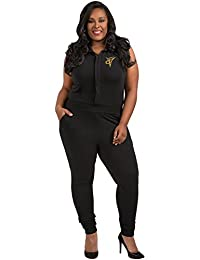 Poetic Justice Trendy Plus Size Embroidered Shirtwaist Jumpsuit