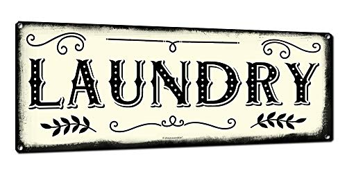 Laundry, 6 x 16 Inch Metal Farmhouse Sign, Rustic Vintage Wall Decor for Home, Restaurant, Cafe, Diner, Coffee Shop, Farm Theme Gifts for Farmers, Ranchers, Animal Lovers, Housewarming, RK3108 6x16