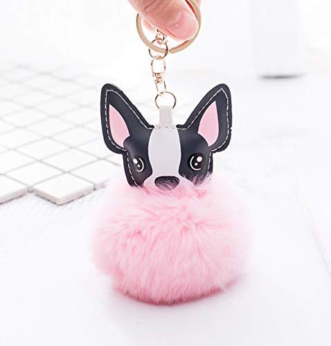 WYBL Fluffy Rabbit Fur Ball Francés Bulldog Llavero Cuero ...