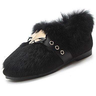 US8.5   EU39   UK6.5   CN40 Wuyulunbi@ Chaussures femmes de confort d'hiver polaire Appartements Talon plat bout rond pour piscine noir