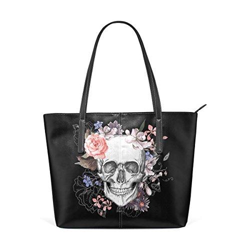 Women PU Leather Floral Print Shoulder Bag (Black) - 6