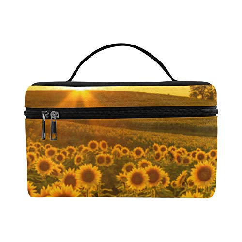 Lovely Motivated Sunflower Large Capacity Size Lady Cosmetic Bag Makeup Organizer Lunch Box Train Toiletry Case For Girls Teen Women Travel With Zipper And Single Layer