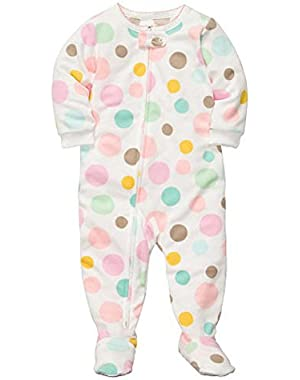 Carters Toddler Girls Plush Pastel Polka Dot Sleeper Sleep & Play Pajamas 4T