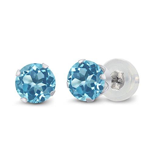 (Gem Stone King Swiss Blue Topaz 10K White Gold 4-Prong Stud Earrings 1.20 Ct Gemstone Birthstone 5MM Round)