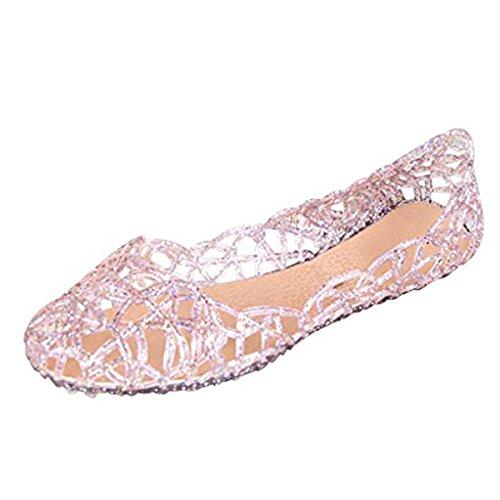 Stunner Women's Beach Jelly Shoes Slip on Crystal Summer Soft Hollow Ballet Flats Pink 38 by Stunner