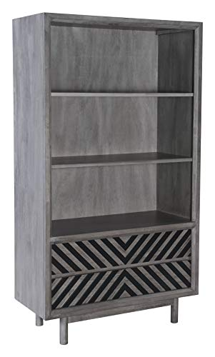 America Luxury - Storage Modern Contemporary Urban Design Bookcase Shelf Rack, Grey Gray, Wood, Living Room Lounge Lobby
