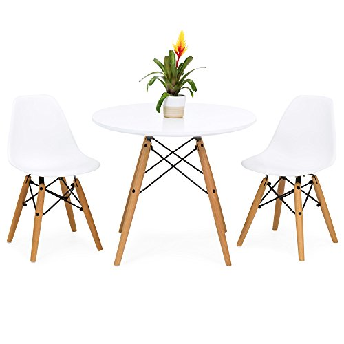 Best Choice Products Kids Mid-Century Modern Eames Style Dining Room Round Table Set with 2 Armless Wood Leg Chairs, White