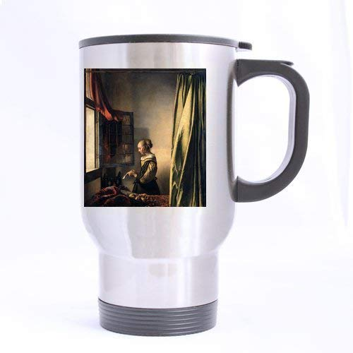 Novelty Gift Presents Vermeer Girl_Reading a Letter by an Open Window Tea/Coffee/Wine Cup Cup 100% Stainless Steel 14-Ounce Travel Mug