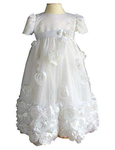 Fenghuavip Round Collar White Baby-Girls Christening Gowns (9-12 Months) by Fenghuavip