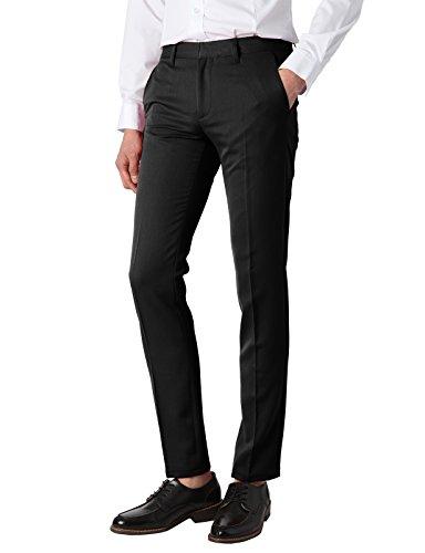 H2H Mens Casual Slim Straight Fit Dress Pants BLACK US 36W/Asia XL (KMBLP0206)