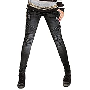 261e870ffa3 AUSZOSLT Womens Ripped Moto Biker Stretch Skinny Jeans Zip Rider Denim Pants