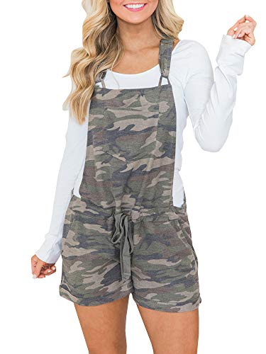 chimikeey Women's Casual Summer Camo Short Overall Jumpsuit Striped Front Flap Pocket Short Romper (Camo Overalls)