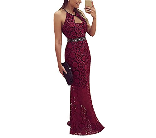 Acelyn Women's Vintage Retro Floral Lace Halter Vintage Backless Wedding Maxi Formal Long Dress Small Red