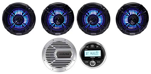 Memphis Audio Marine Gauge Bluetooth Receiver+(4) LED Speakers+Alpine Subwoofer ()