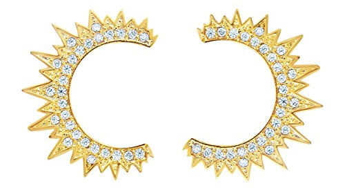 Inspired Gold Plated - Sterling Forever - Geometric Sun Inspired Gold Plated CZ Crescent Moon Stud Earrings for Women