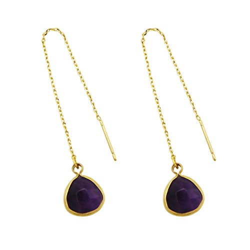 Rosemarie Collections Womens Natural Stone Drop Threader Earrings  Amethyst Purple