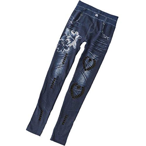pantalons pantalon fonc effiloch clair jeans XL femme S dchir bleu en Homyl slim skinny biker denim gHaap