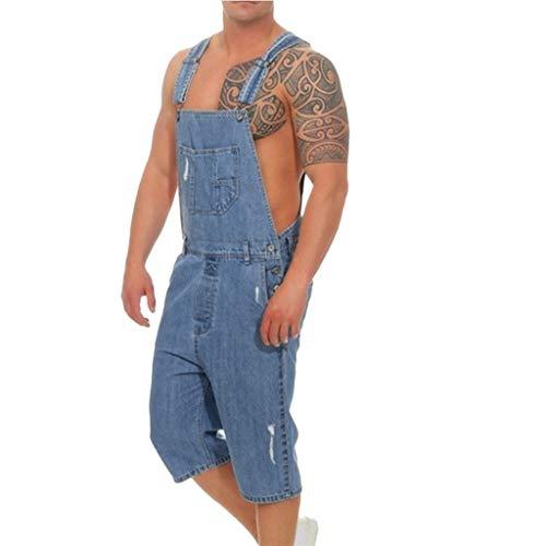 VEZAD Men's Overall Casual Jumpsuit Jeans Wash Broken Pocket Trousers Suspender Pants ()