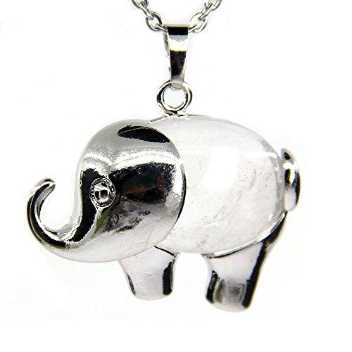 Amandastone White Quartz Gem Semi Precious Gemstone Crystal Quartz Charm Elephant Pendant Necklace 20