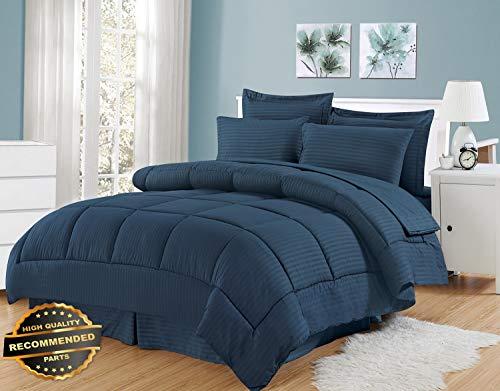 Gatton New Premium Dobby Embossed Hotel Comforter Sheet Sham 8 Piece Bed in A Bag Set | LINENIENHM-182012565 Queen ()