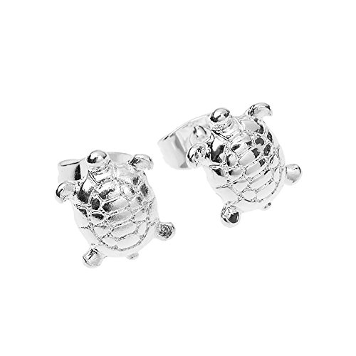 MIXIA Fashion Personality Cute Animals Tiny Turtle Earring for Women Ear Studs (Silver)