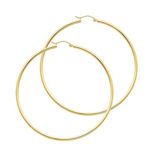 (14k Yellow Gold 2mm Thickness Hinged Hoop Earrings (55 x 55 mm))
