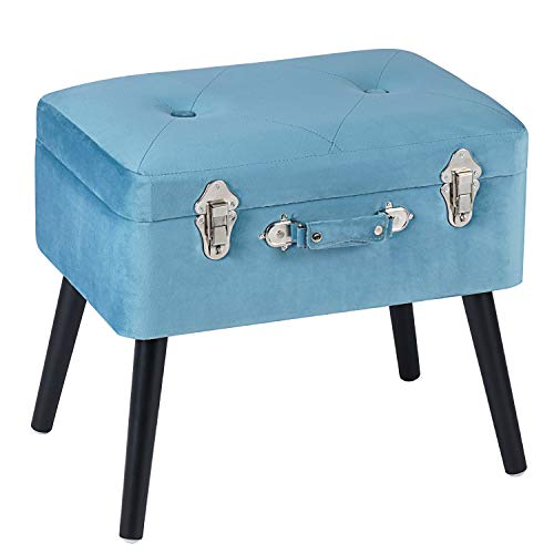 Edencomer Storage Ottomans Container Bench Sturdy Foot Rest Stool Padded Lint Seat Portable Collection Suitcase with Detachable Wooden Legs and Safety Lock for Home Travel,Classic Blue