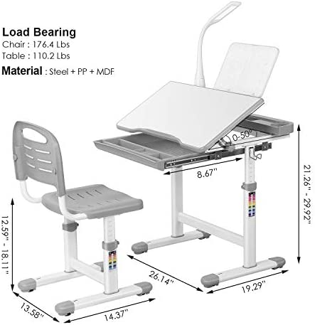 POTBY Kids Desk And Chair Set, Height Adjustable School Children Study Table With LED Lamp, Bookstand, Wood Tilting Tabletop, Drawer Storage, For 3-15 Years Old Students (Gray)
