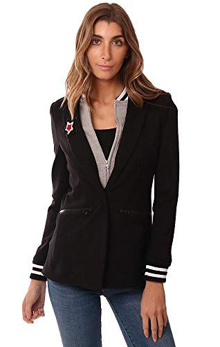 Central Park West Jackets Layered Zip Up Athletic Insert Black Blazer - Black - M