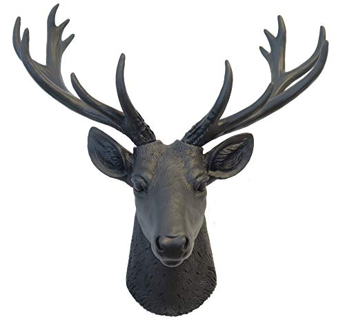 Near & Deer Mini Deer Head Faux Taxidermy Easy Craft, Art Wall Décor w/Contrasting Hand Painted Onyx Color for South Western, Black