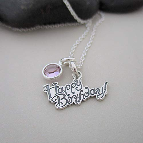 Handmade in USA, BIRTHSTONE NECKLACE PERSONALISED FOR JUNE AMETHYST BIRTHDAY