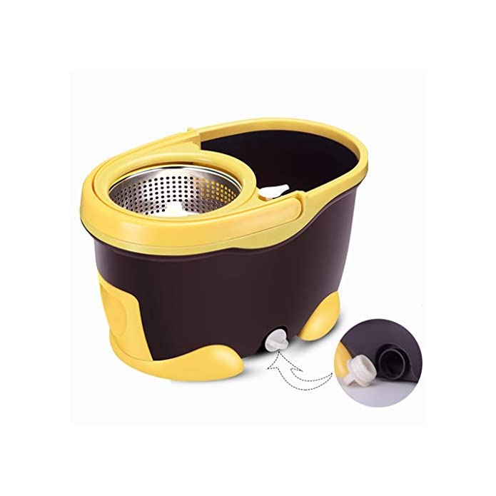 Msndian Secchio Rotante A Doppia Coclea Guida Mano Mop Secco E Asciutto Rotativo Automatico