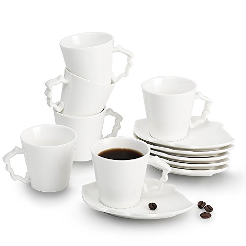 Porcelain Espresso Cups Leaves series 2 oz Cups & Saucers Set of 6 , Pukka Home