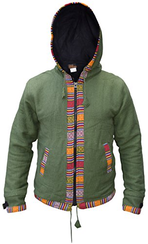 Con giacca Rivestimento Vert Cappuccio Little In Ofal Inverno Kathmandu Uomo Cotone Zip Pile Etnica Stampa Nepalese ZZTcPOW