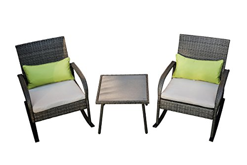 LOKATSE HOME 3 Piece Wicker Rocking Chair Conversation Set, White