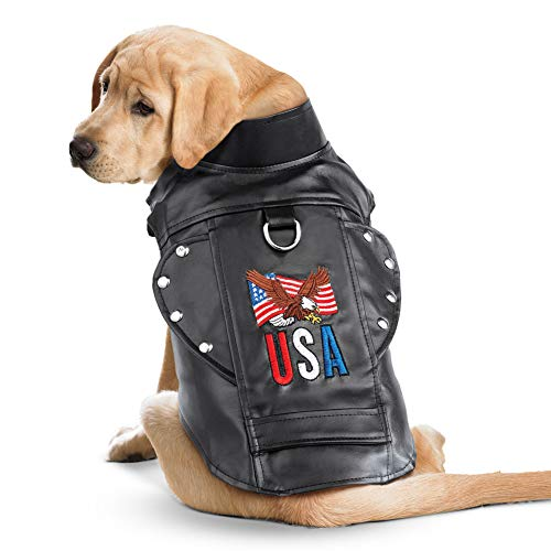 Collections Etc USA Faux Leather Biker Dog Jacket with Adjustable Closure for Custom Fit, - Jacket Vinyl Biker