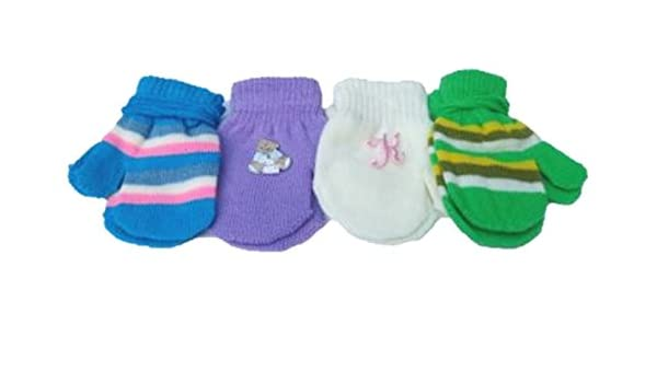 Set of Four Pairs of One Size Magic Stretch Mittens for Infants Ages 3-12 Months