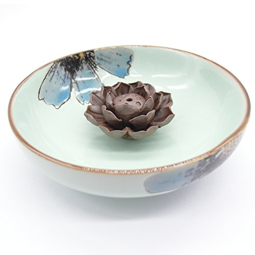 (TRENDBOX Ceramic Handmade Artistic Incense Holder Burner Stick Coil Lotus Ash Catcher Buddhist Water Lily Plate - One Hole Pale Green)