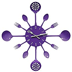 MCC Metal Kitchen Cutlery Utensil Wall Clock Spoon Fork Ladel Home Decoration Art Watch multiple Color selection , purple