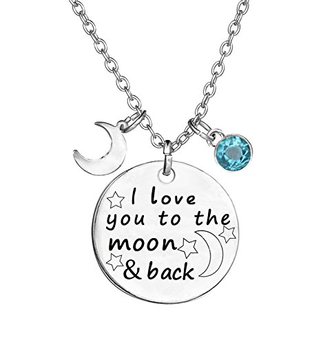 TISDA Birthstone Crystals Necklace,I Love You To The Moon And Back Jewelry Necklace (March) by TISDA
